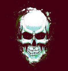 skull artistic splatter light green n purple vector image vector image