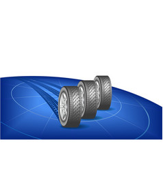 Tires go round the globe vector image vector image