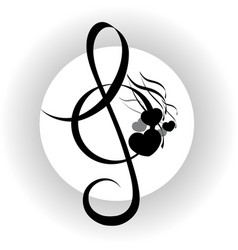 treble clef with notes design vector image
