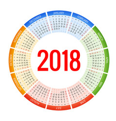 2018 circle calendar print template week starts vector image