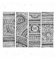 Abstract hand drawn ethnic banners vector