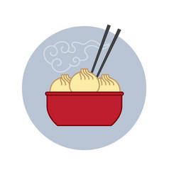 chinese asian food dumplings chopsticks icon vector image