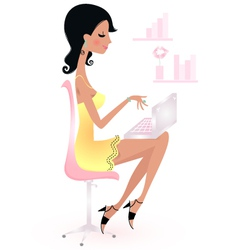 Cute beautiful young woman with laptop vector image