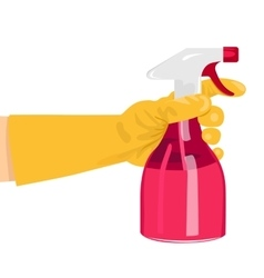 hand holding a pink spray bottle vector image vector image