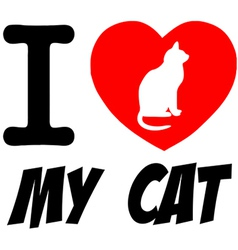 I love my cat heart logo vector image vector image