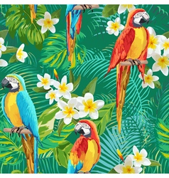 Tropical flowers and birds background vector