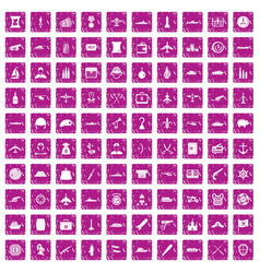 100 combat vehicles icons set grunge pink vector