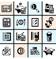 Accounting icons set black vector