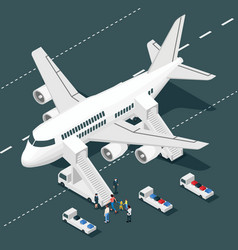 airplane boarding isometric composition vector image