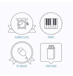 Alarm clock USB flash and PC mouse icons vector image