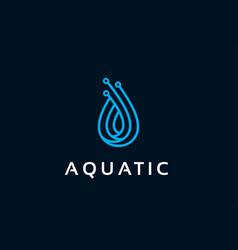 Aquatic logo template design emblem design vector