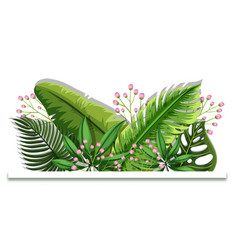 background design with green leaves and pink vector image