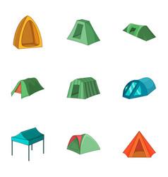 beach tent icons set cartoon style vector image