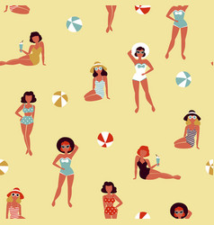 beautiful girls on beach retro seamless pattern vector image