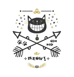 Black and golden hand drawn cute cat and arrows vector