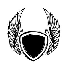 Blank emblem with wings isolated on white vector
