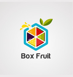 box fruit colorful logo icon element and vector image