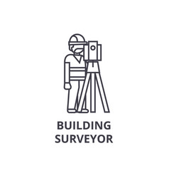 Building surveyor line icon sign vector