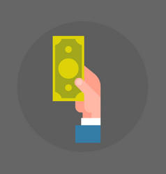 business man hand holding dollar banknote icon vector image