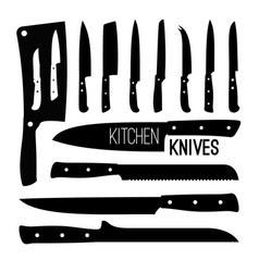 butcher knives silhouettes vector image