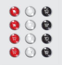 button web color glossy icon shoping vector image