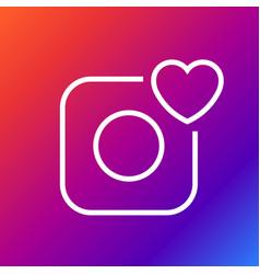 camera icon - camera and heart editable vector image