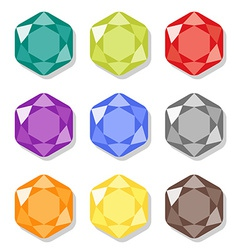 Cartoon hexagon gems icons set vector