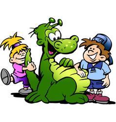 Cartoon of a dinosaur having fun with kids vector