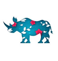 Cartoon paper rhinoceros sky landscape vector