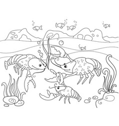 childrens cartoon family of crayfish on the bottom vector image