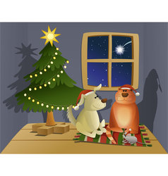 Christmas friendly pets vector