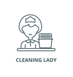 cleaning lady line icon cleaning lady vector image