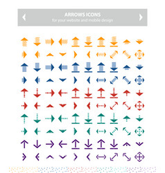 Color arrow icons flat design set image vector