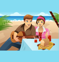 couple having a picnic vector image