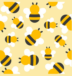Cute bee seamless pattern for wallpaper vector