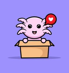 Cute oxolotl inside box cartoon character vector
