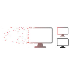 Disintegrating pixel halftone monitor icon vector
