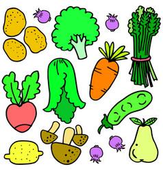 Doodle of fresh vegetables set vector