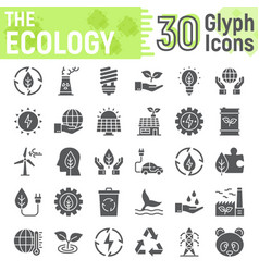 Ecology glyph icon set green energy signs vector