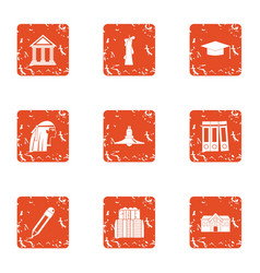 Educational institution icons set grunge style vector