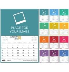 English calendar 2016 vector image