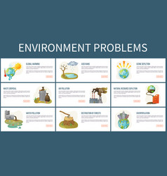 Environmental problems planet webpages text vector