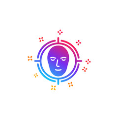 Face detect target icon head recognition sign vector