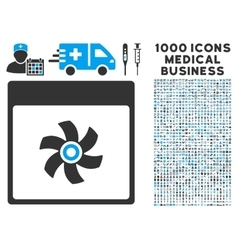 Fan Calendar Page Icon With 1000 Medical Business vector