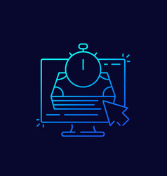 fast loan online thin line icon vector image