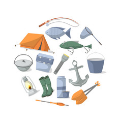 Fishing banner with fisher equipment icons vector