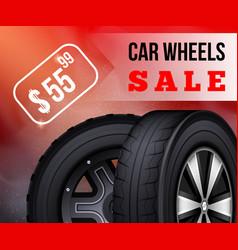 Flat banner car wheels sale booklet flier vector