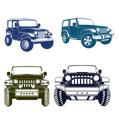Four jeep silhouette vector