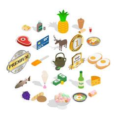 gastronomy icons set isometric style vector image