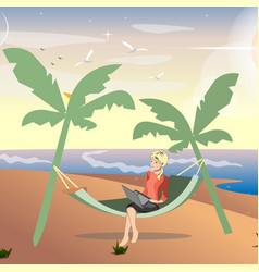 girl freelancer working on sea vector image vector image